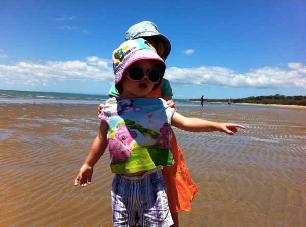The two little ones enjoying the Hervey Bay mud flats at low tide